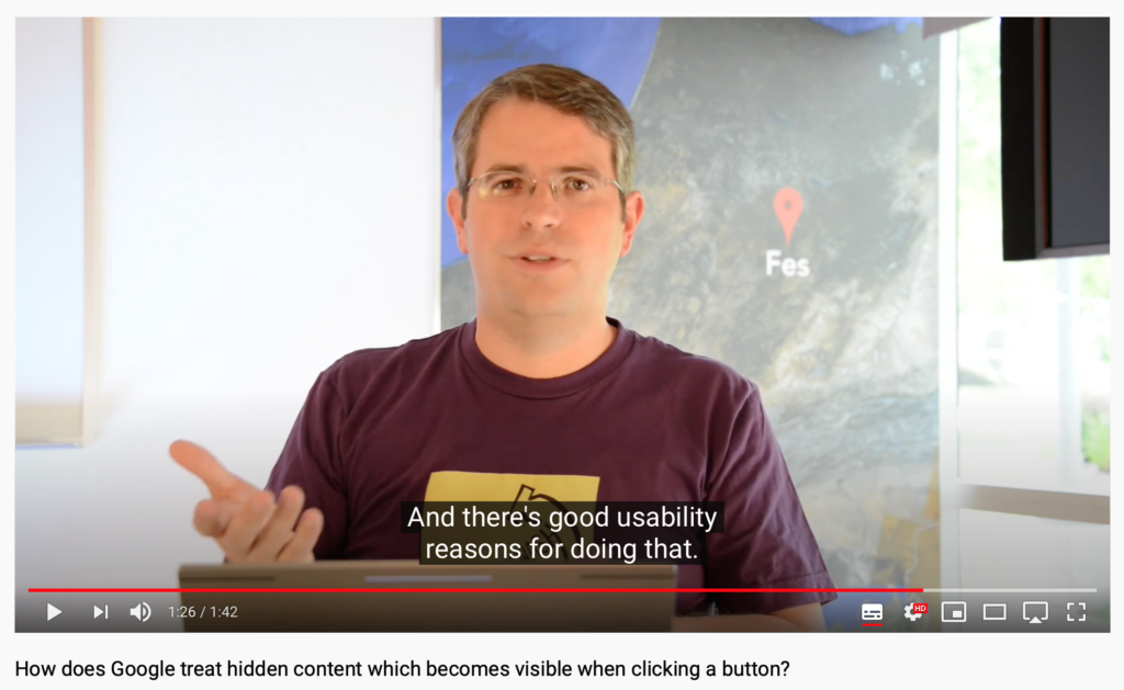 How does Google treat hidden Content? There's good usability reasons for doing that.