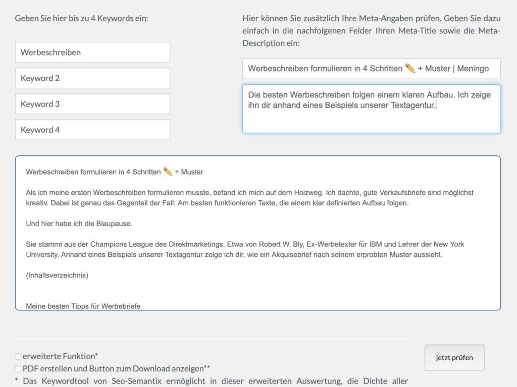 Eingabe von Text und Keywords in SEO-Semantix Tool
