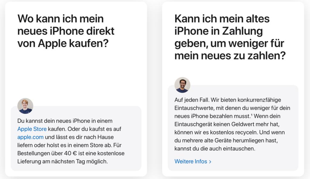 Zwei sehr kurze Texte über iPhones, die Fragen verkaufen