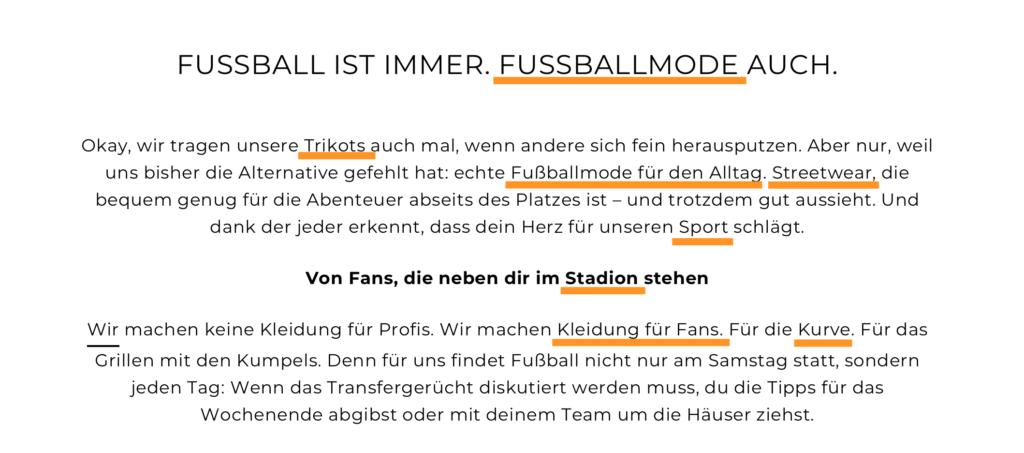 Der Text verbindet abwechslungsreiche Keywords wie Fußballmode, Fußballkleidung und Co. mit Mehrwert für die Nutzer*innen