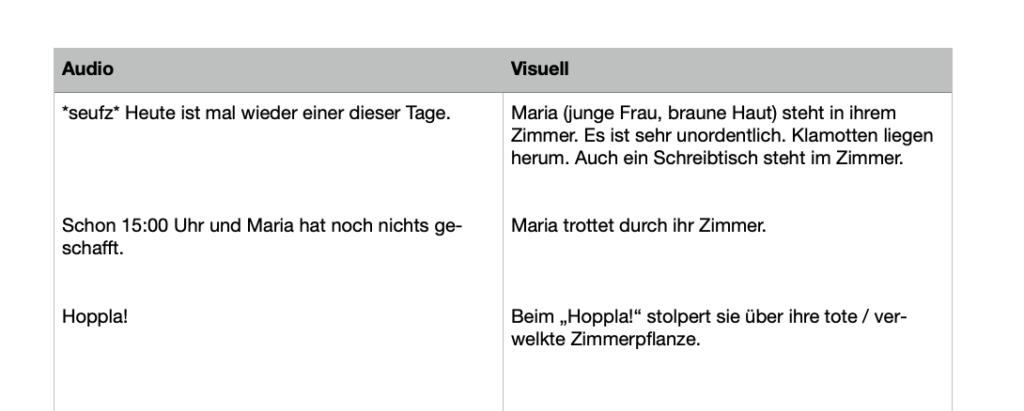 AV-Skript für Videos schreiben Beispiel: Links Sprechtext (Audio), rechts visuelle Beschreibung