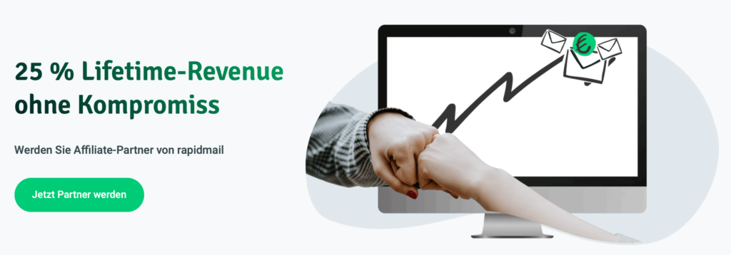 Rapidmail bietet 25 % Lifetime Revenue für Affiliate Partner*innen