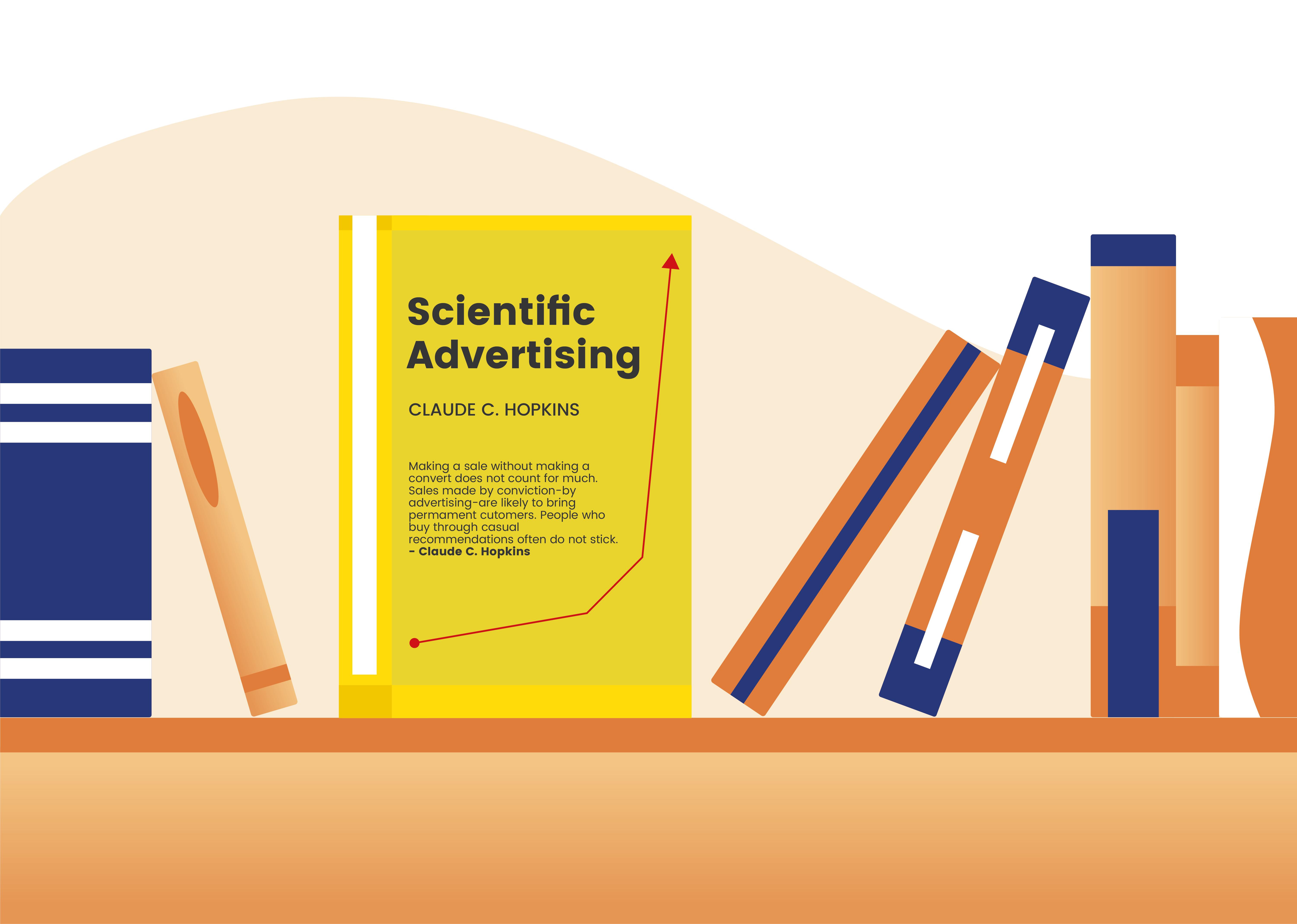 Gelbes Cover des Buchs Scientific Advertising von Claude C. Hopkins mit Pfeil nach oben